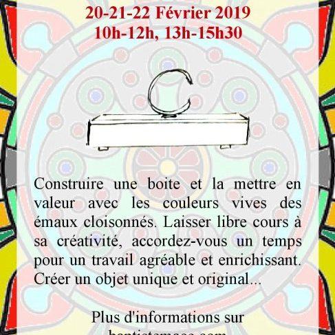 Boites et émaux cloisonnés stage de poterie Caen janvier 2019